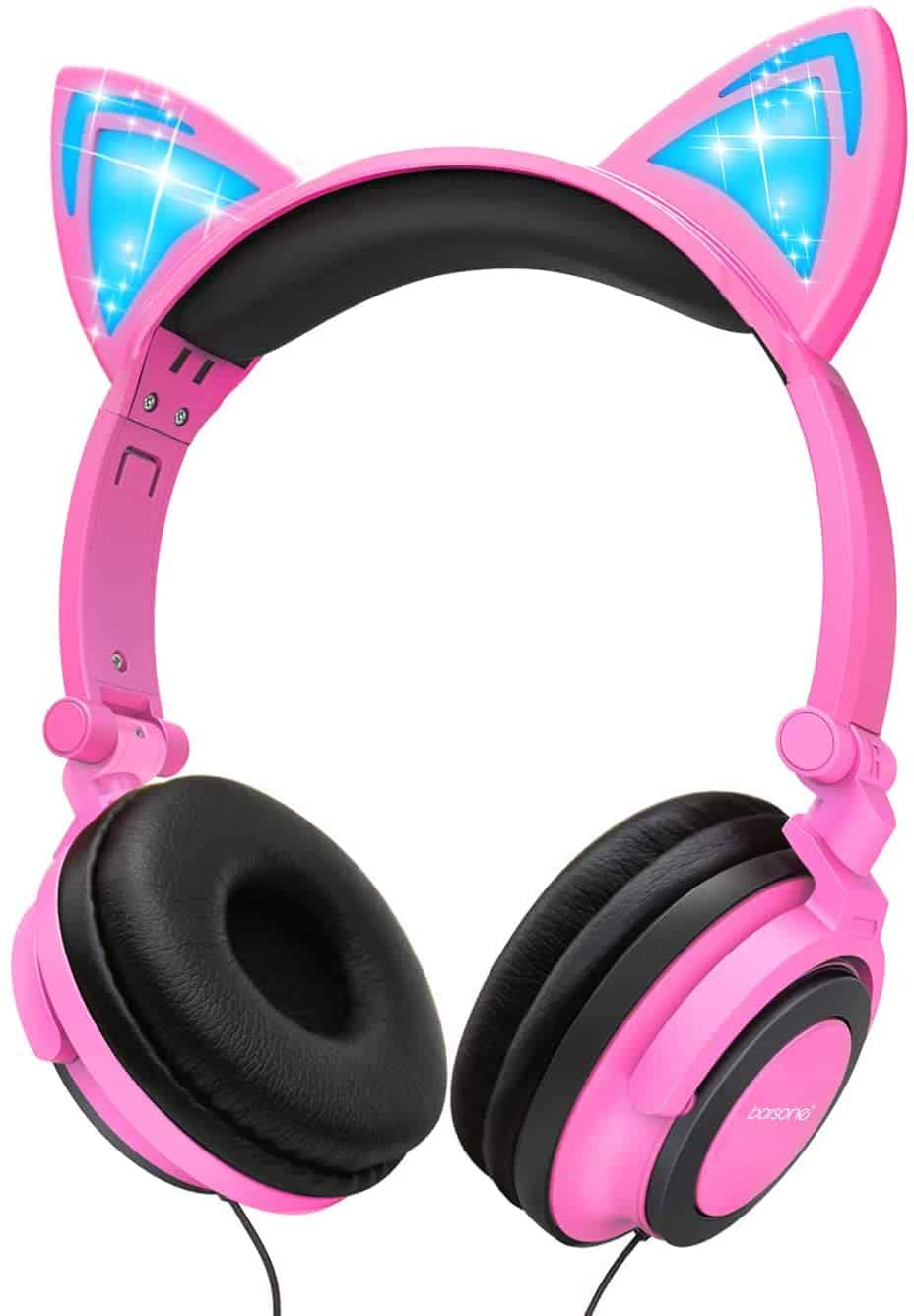 Cat Ear Headphones,barsone Kids Headphones Wired Foldable On Ear Headsets with LED Glowing Light